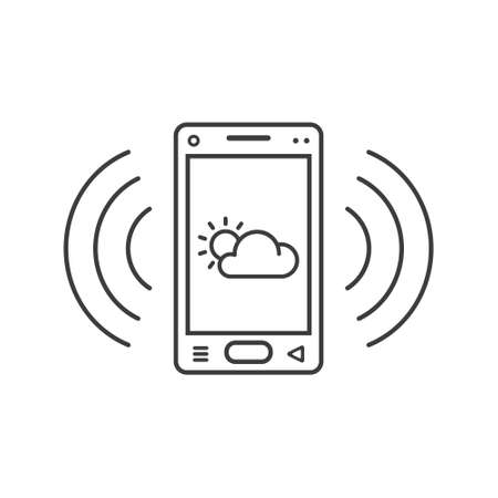 black and white line art ringing smartphone icon with weather sign and wave waves