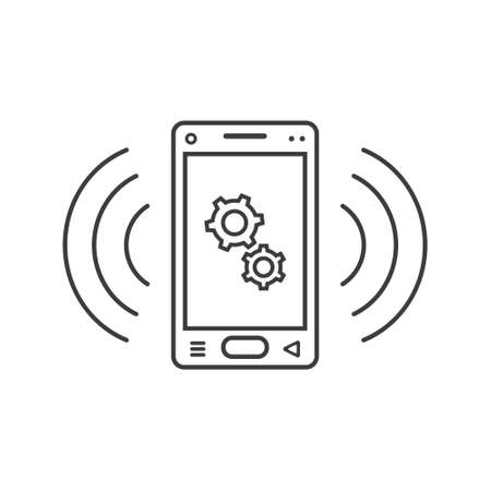 black and white line art ringing smartphone icon with gears sign and wave waves