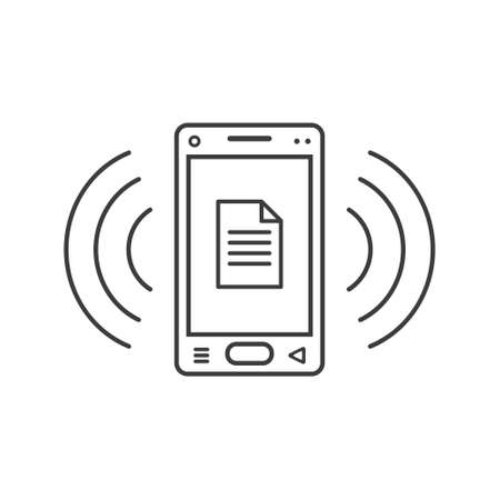 black and white line art ringing smartphone icon with document sign and wave waves