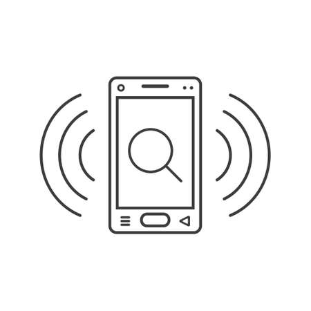black and white line art ringing smartphone icon with a magnifying glass sign and wave waves