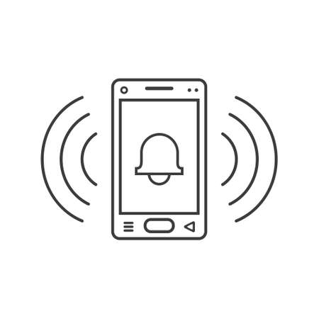 black and white line art ringing smartphone icon with a sign of the bell and wave waves