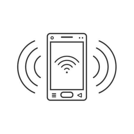 black and white line art ringing smartphone icon with connection level sign and wave waves