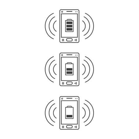 three ringing line art icons of smartphones with different levels of charging and wave waves