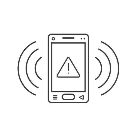 black and white line art ringing smartphone icon with warning sign and wave waves