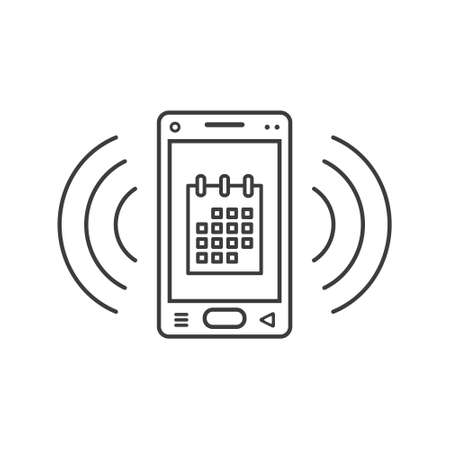 black and white line art ringing smartphone icon with calendar symbol and wave waves
