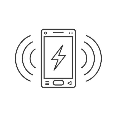 black and white line art ringing smartphone icon with a sign of lightning and wave