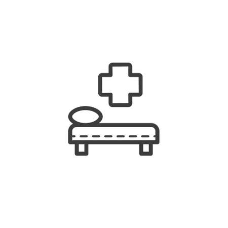 black and white simple vector line art outline hospital bed icon
