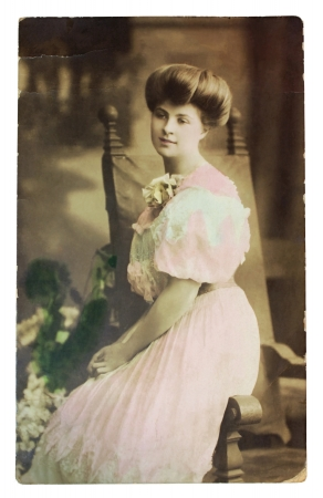 GERMANY - CIRCA 1907: Vintage postcard printed in GERMANY shows hand painted photograph of famous AMERICAN pianist Myrtle Elvyn. Circa 1907.