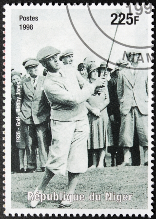 NIGER - CIRCA 1998: A postage stamp printed by Niger shows image portrait of famous American amateur golfer Robert Tyre