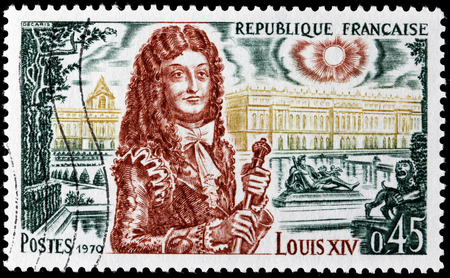 FRANCE - CIRCA 1970: A stamp printed by FRANCE shows image portrait of King Louis XIV (1638 – 1715), known as Louis the Great (Louis le Grand) or the Sun King (le Roi-Soleil), circa 1970.