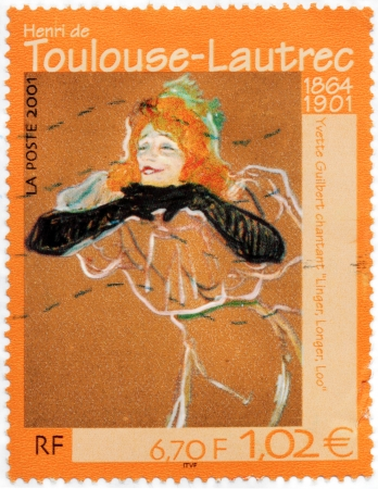 FRANCE - CIRCA 2001: A stamp printed by FRANCE shows portrait of French cabaret singer and actress Yvette Guilbert singing Linger Longer, Loo by Toulouse-Lautrec, circa 2001