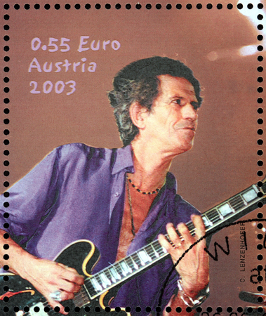 AUSTRIA - CIRCA 2003: A stamp printed by AUSTRIA shows image portrait of  famous English musician, composer, singer and songwriter Keith Richards, circa 2003.