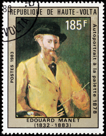 UPPER VOLTA - CIRCA 1983: A stamp printed by UPPER VOLTA shows image portrait of French painter Edouard Manet - pivotal figure in the transition from Realism to Impressionism, circa 1983