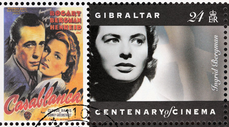 GIBRALTAR - CIRCA 1995. A postage stamp printed by GIBRALTAR shows Swedish actress Ingrid Bergman and American actor Humphrey Bogart starring in the film Casablanca, circa 1995.