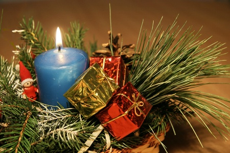 Blue candle decoration christmas card