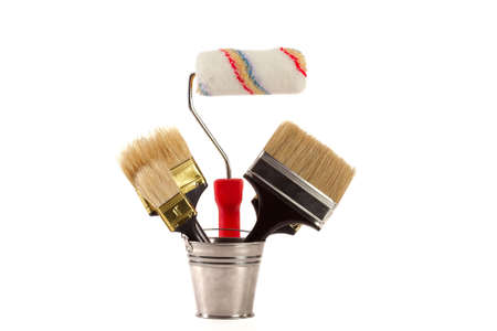 complete set of brushes for painting an interior in the house