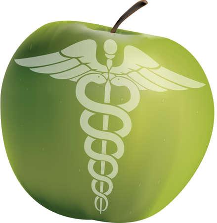 Vektor für Apple with the symbol of medicine - Lizenzfreies Bild