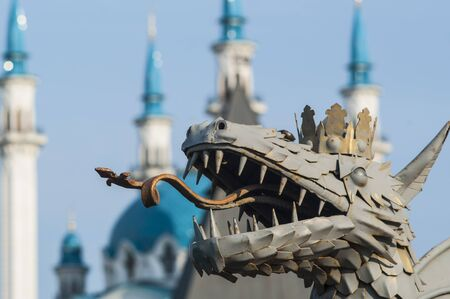 Dragon, a symbol of the city of Kazan Kremlin on background