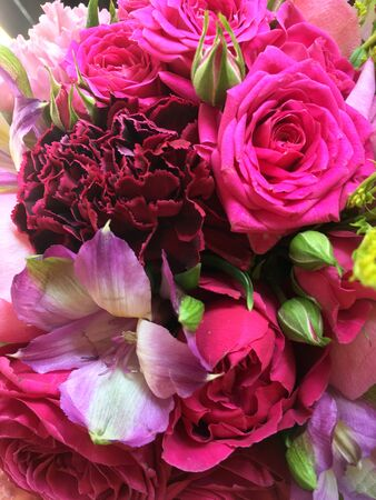 Photo for Close-up Beautiful Bouquet. Bouquet of flowers solidago, freesia, pink roses, pink dianthus. Beautiful bright flowers background. - Royalty Free Image