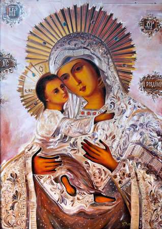 Virgin Mary with the baby Jesus.