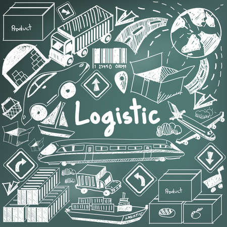 Logistic, transportation, and inventory management chalk handwriting doodle icon cargo object sign and symbol in blackboard background used for business presentation title or university education with header text, create by vector