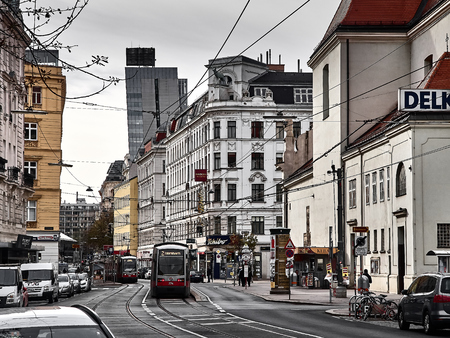 Vienna, Austria - November 1, 2018 - View of the streets of Vienna. People are walking around to go shopping and visit the city