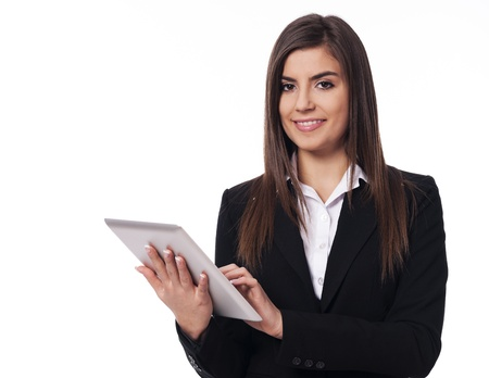 Photo for Happy businesswoman using digital tablet - Royalty Free Image