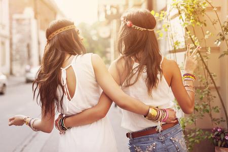 Boho girls walking in the city