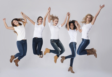 Celebration of success by jumping up