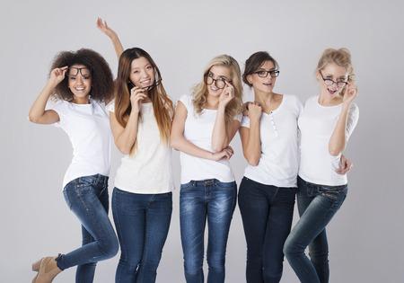 Photo pour Fun moments with fashion glasses - image libre de droit