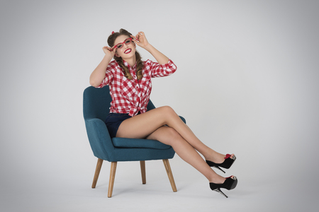 Photo pour Eye glasses suit her perfectly - image libre de droit
