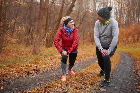 Photo pour Active seniors training over autumn time - image libre de droit