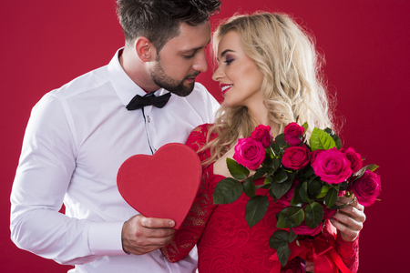 Romantic scene on the red background