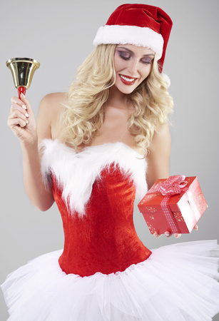 Amazing woman with Christmas gadgets