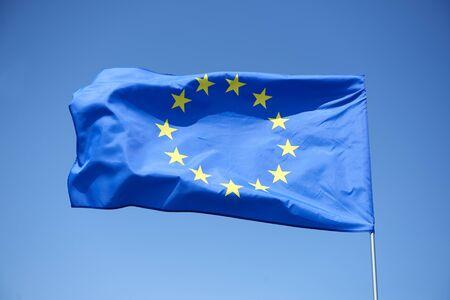 Foto de European Union flag on the blue background - Imagen libre de derechos
