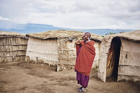 Photo for Masai man in the village in Africa, Tanzania,  Africa- 01 February 2020 - Royalty Free Image