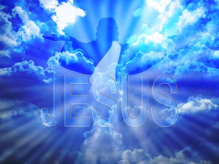 Photo pour Jesus Christ in blue sky and word Jesus - image libre de droit