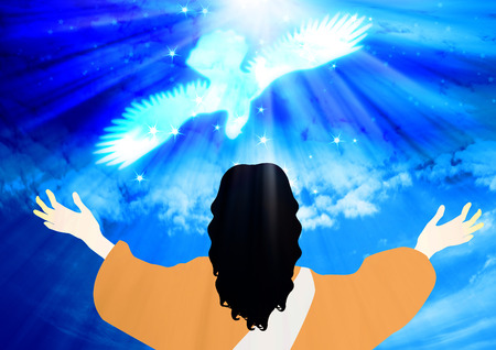The Baptism of Jesus.Jesus saw the heavens open up and the Holy Spirit descending like a dove.