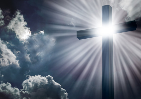 Photo for Christian cross with bright sun and clouds background - Royalty Free Image