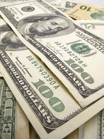 two hundred dollar monetary denominations on  background of dollars,  close up