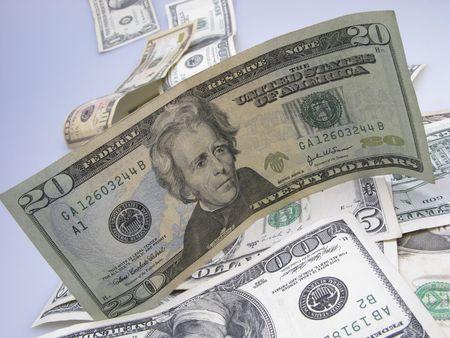American monetary denominations on  light background