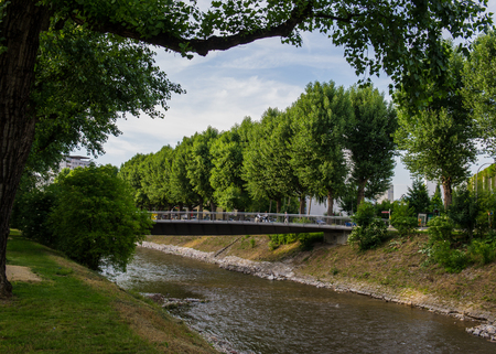 BASEL, SWITZERLAND - JUNE 01  2017: Swiss city Basel in the summer. Urban views and landscapes on the river Weise. Europe.