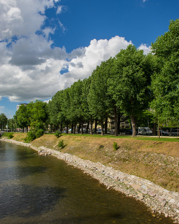 BASEL, SWITZERLAND - JUNE 06  2017: Swiss city Basel in the summer. Urban views and landscapes on the river Weise. Europe.