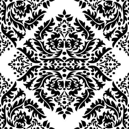 Illustration pour Damask wallpaper. A seamless vector background. Black and white texture. Floral ornament - image libre de droit