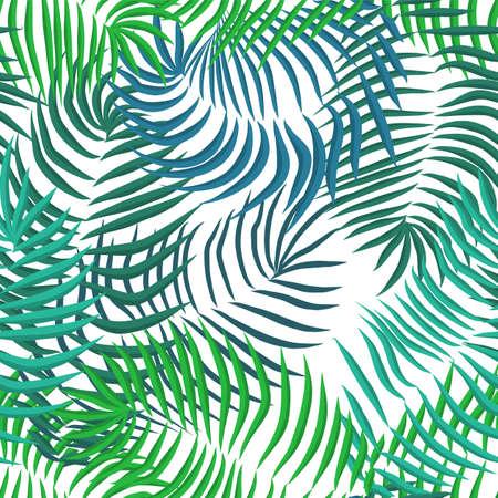 Illustration pour Vector seamless summer palm leaves on white background - image libre de droit