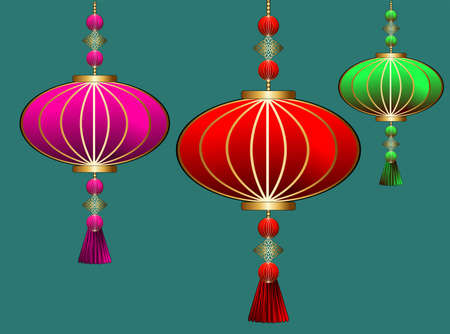Illustration for Abstract chinese lantern for decoration design.Lunar new year. Party event decoration. Hanging light. Chinese lantern, great design for any purposes. - Royalty Free Image