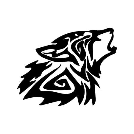 Illustration pour Figure wolf in the form of a tattoo. On a white background. - image libre de droit