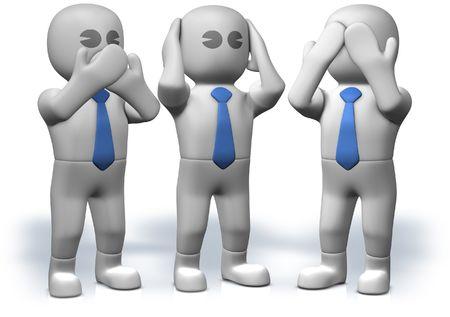 Three businessman who act three famous monkeys