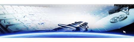 Photo pour banner of industries and technologie. Header artwork.  Computer banner design. - image libre de droit