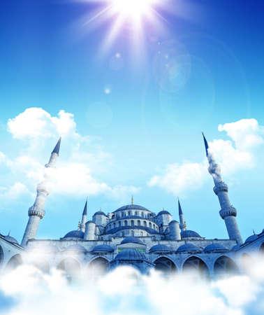 islamic fantasy. Blue mosque dreams. Cloud top  mosque.